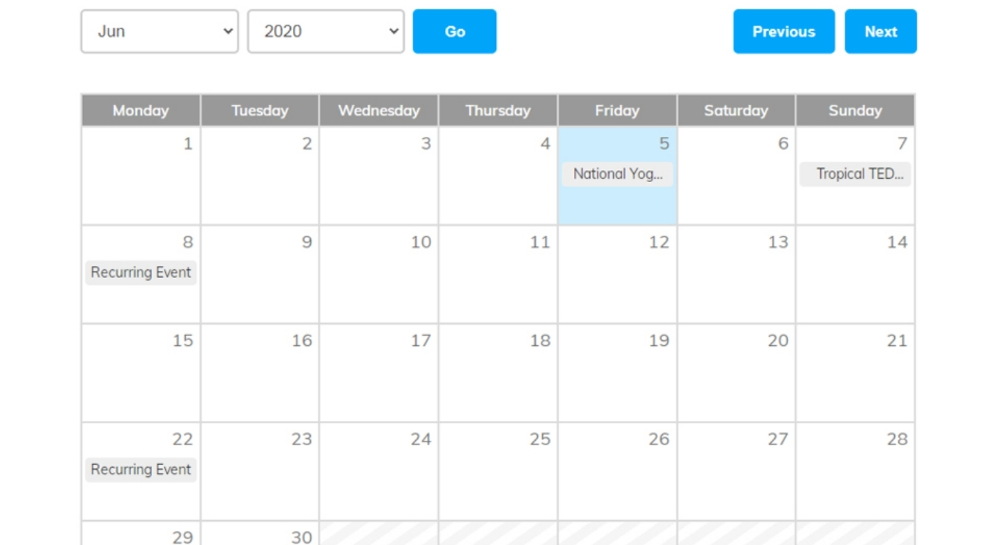 Best Feature is Events Calendar Shortcode