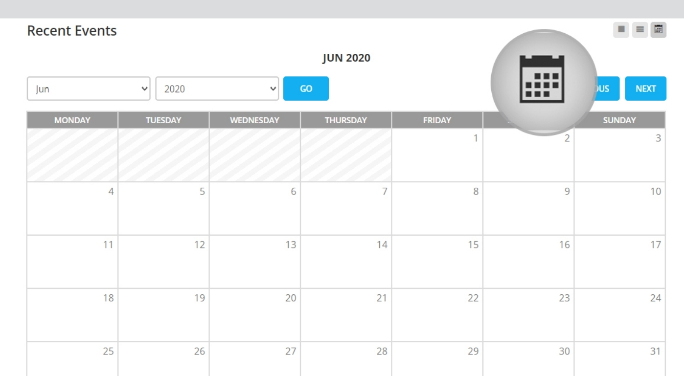 show you an event calendar with all the available events