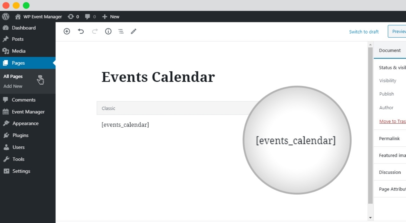 Best Feature is Events Calendar Shortcode 1
