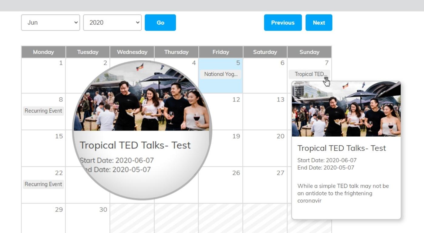 Display Event Calendar widget