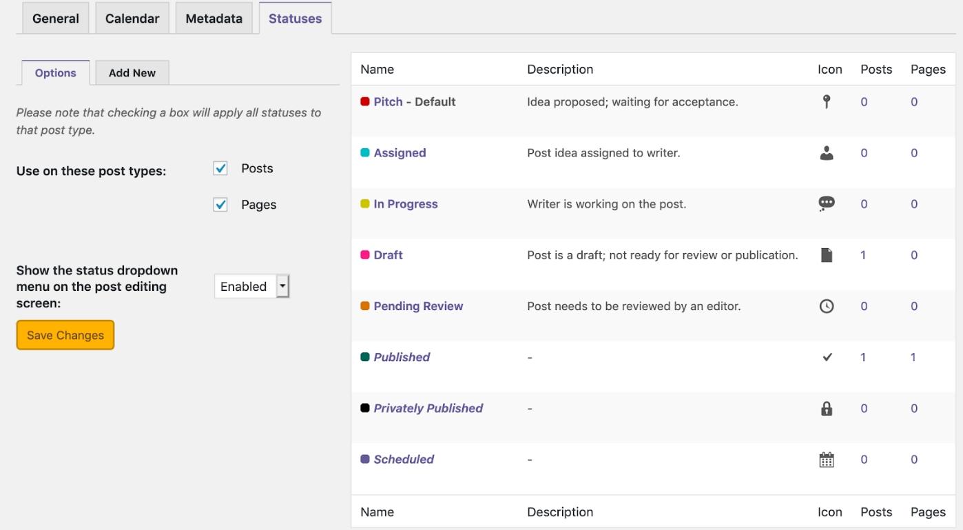 Custom Statuses in WordPress 3