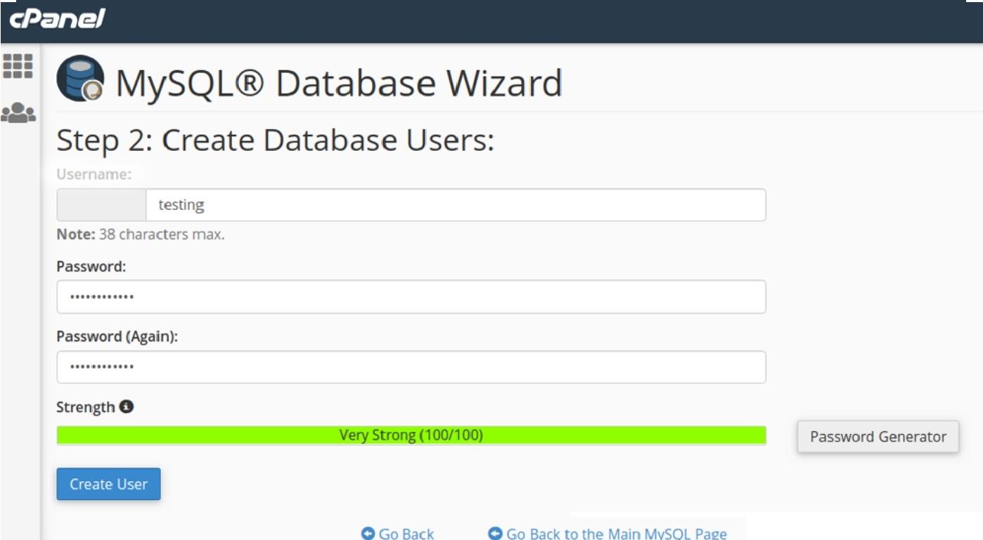 Create User MySQL Database