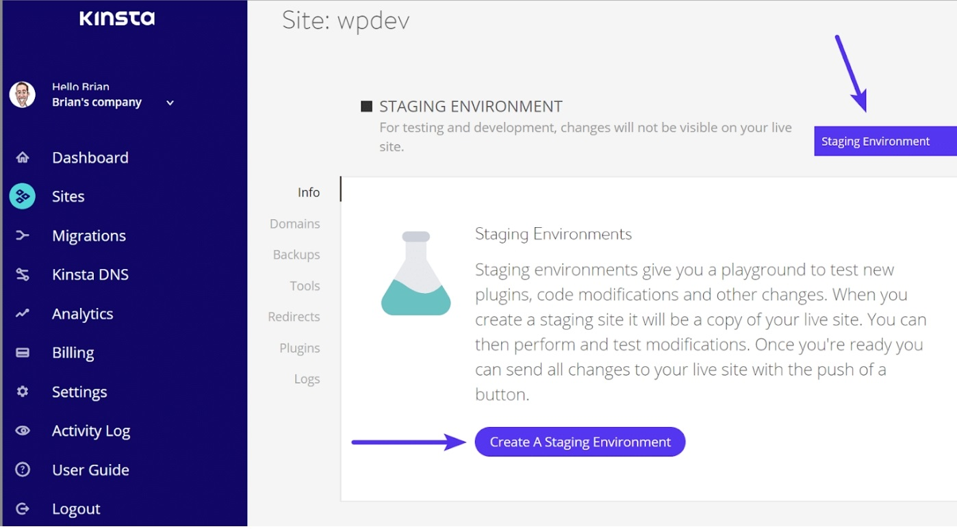 create staging environment with kinsta