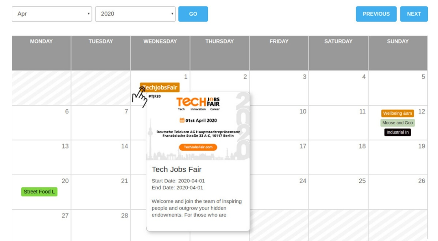 successful online event business Calendar of events with wp event manager