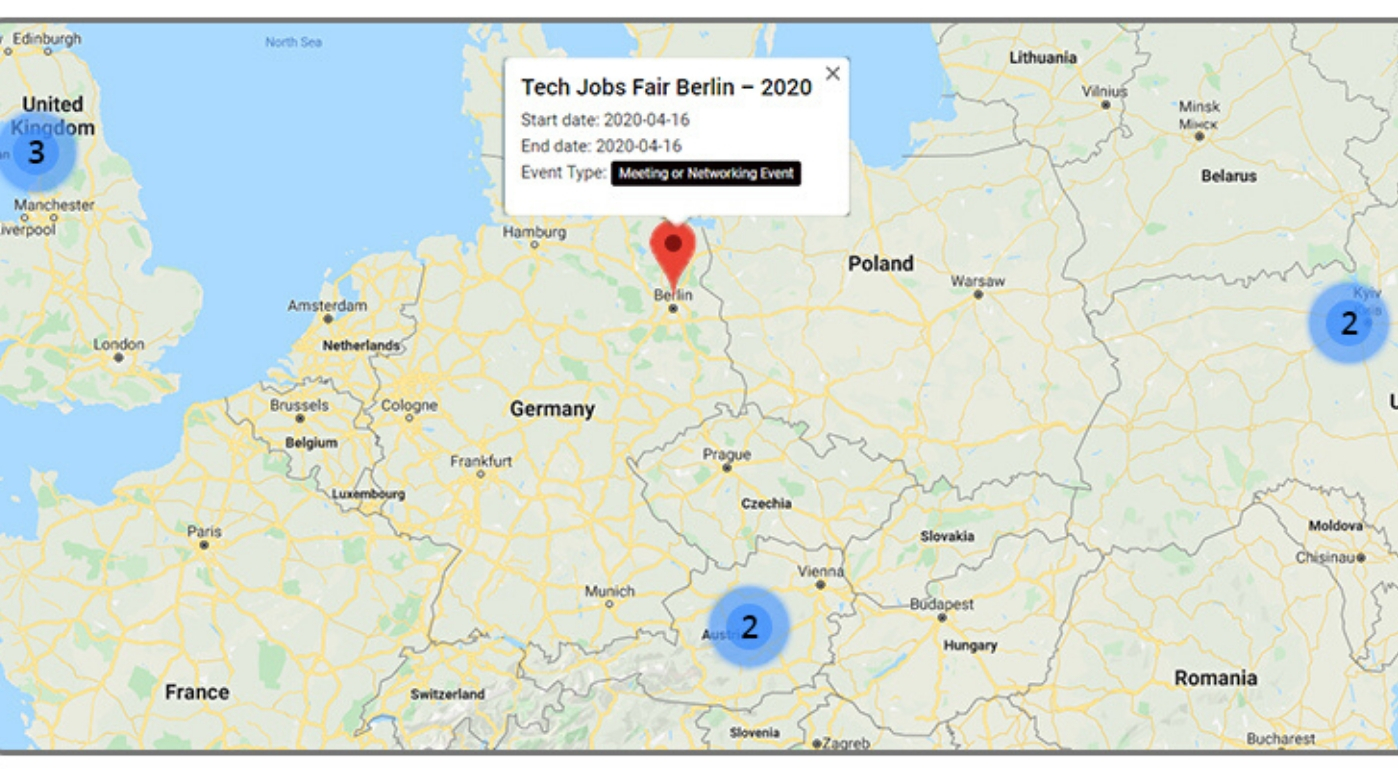 Map feature of events with wp event manager
