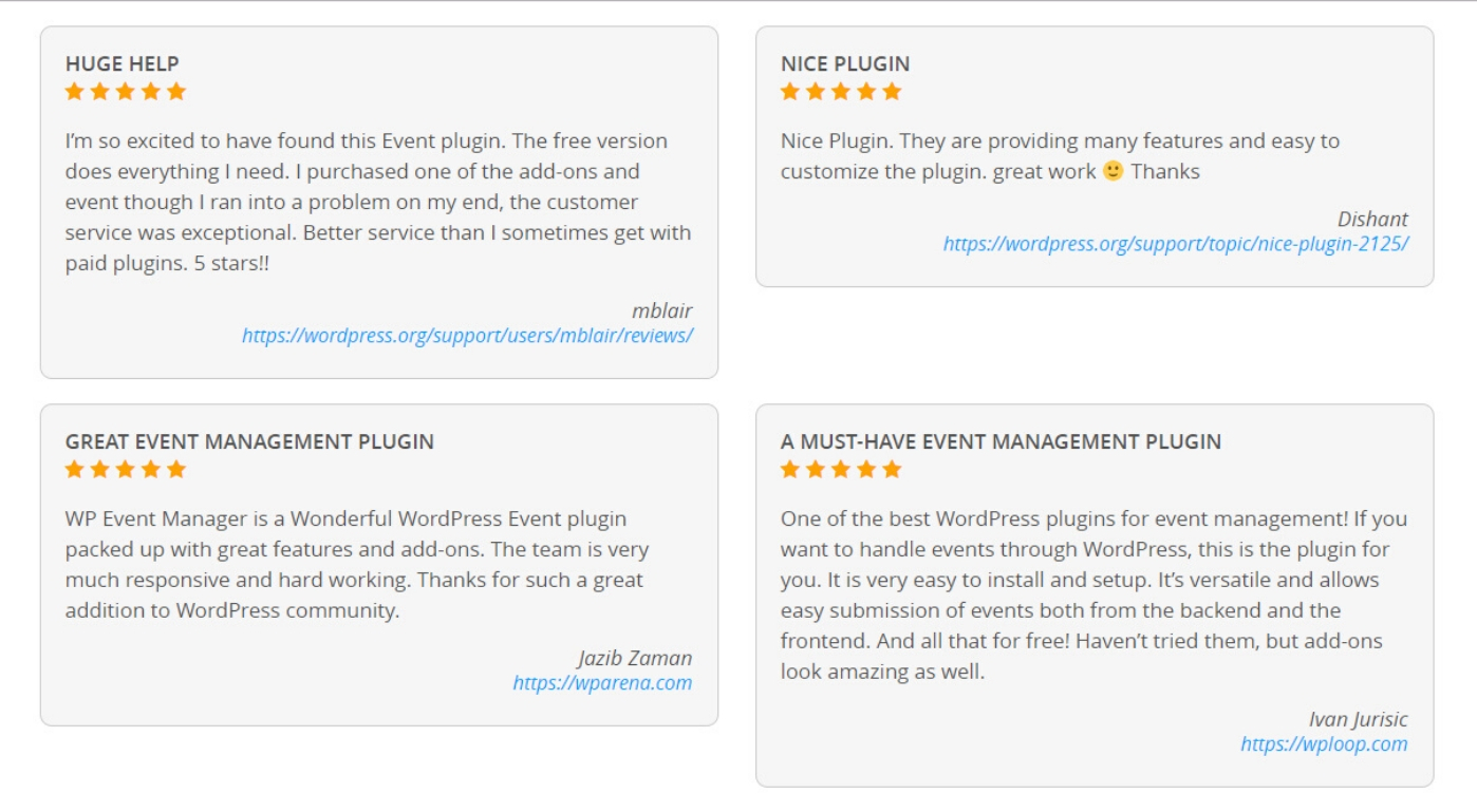 Thought about wordpress plugin wp event manager 2