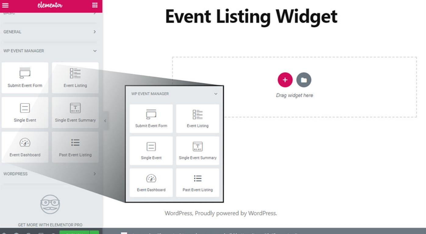 event listing widget