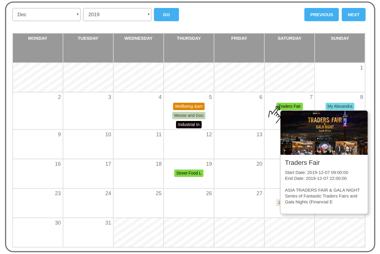 WP Event Manager Calendar